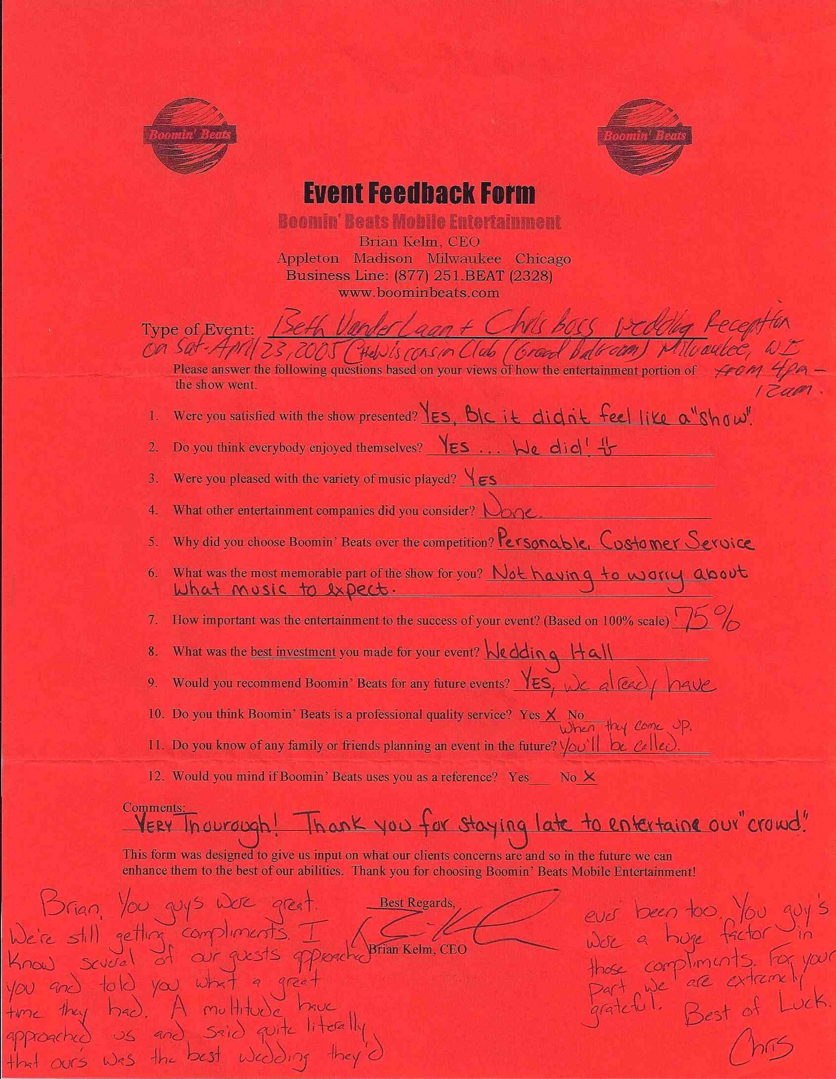 Brian Kelm Productions Written Testimonials