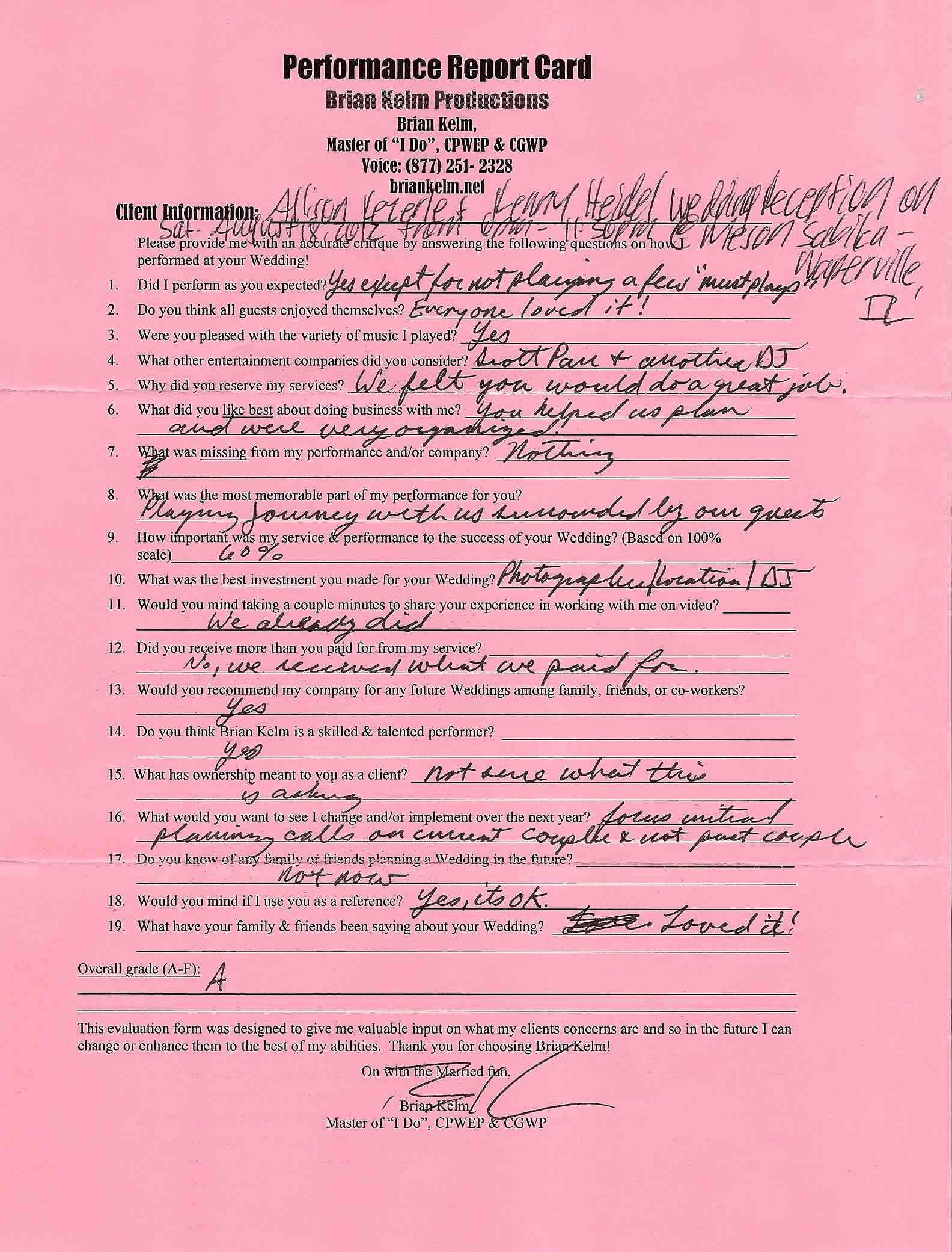 Brian Kelm - Master of Ceremonies, Performer, Wedding DJ, Creative Wedding Planner & Custom Wedding Designer, Written Testimonials, Report Card