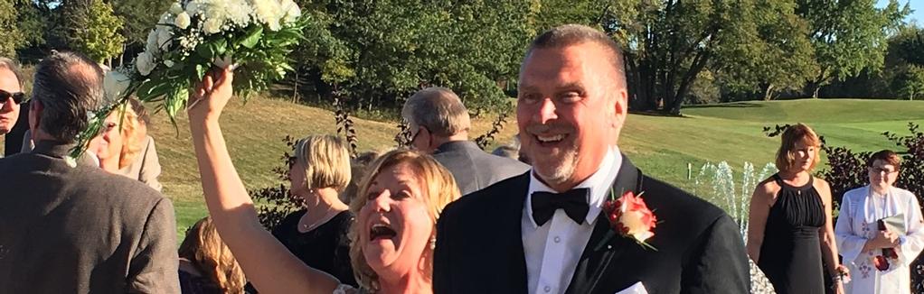 Jackie & Mark Wedding Ceremony smiles!